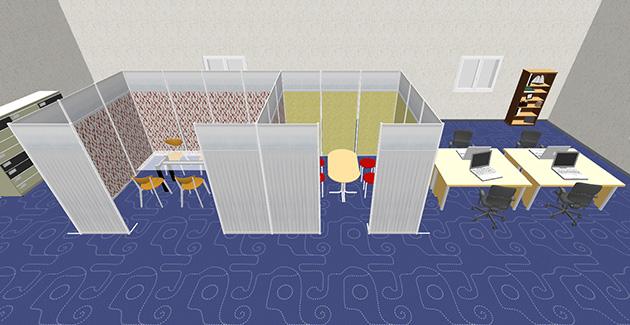 ミーテングルーム、会議スペース、執務室、応接スペース
